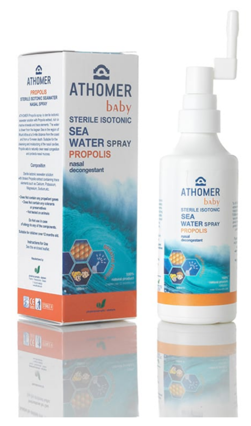 Seawater nasal spray with propolis
